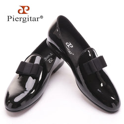 Piergitar black patent leather loafers with black bowtie - The Royal Boutique