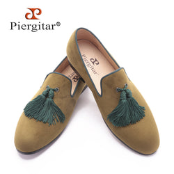 Piergitar army green velvet shoes with new style green tassel - The Royal Boutique