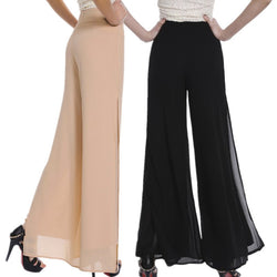 Vintage Loose High Waist Long Trousers Chiffon Side Split Casual Palazzo Pants - The Royal Boutique