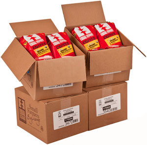 Four stacked cases of packaged coffee