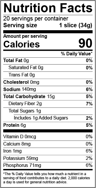 Nutrition Facts for California Style Bread