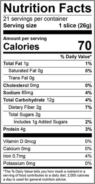 Nutrition Facts for Chia and Flax Thin Sliced Bread
