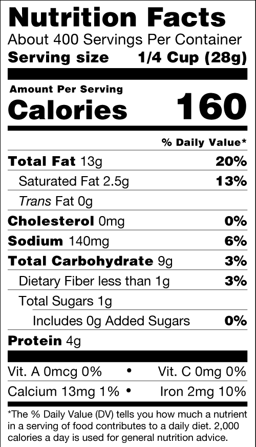 Organic Roasted Salted Cashews Nutrition Facts