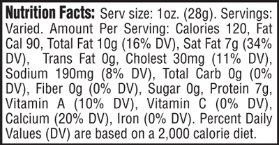 Extra Sharp Cheddar Nutrition Facts
