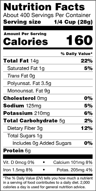 Organic Tamari Roasted Almonds Nutrition Facts