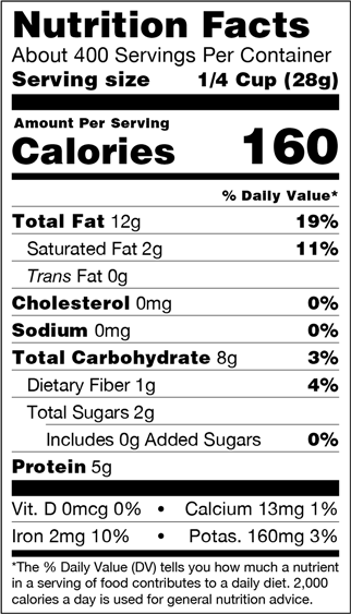 Organic Natural Cashews Nutrition Facts