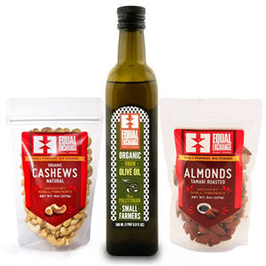 A bottle of olive oil and two bags of nuts