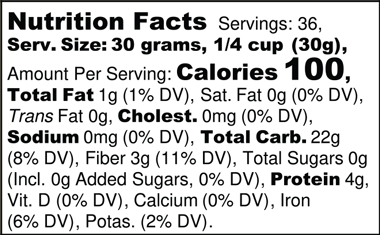 Organic Sifted Wheat Flour Nutrition Facts