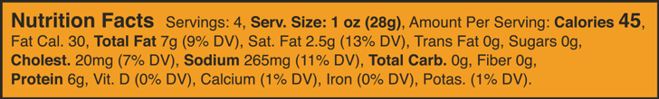 Smoked Paprika Salami Nutrition Facts