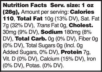Weiss Clothbound Cheddar 1 Year Cheddar Nutrition Facts
