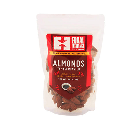 A package of organic tamari roasted almonds