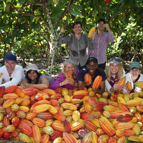 Showing off a successful harvest of cacao pods at ACOPAGRO co-op in Peru