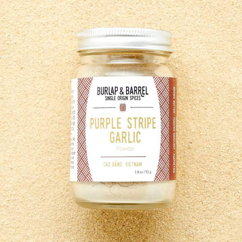 A jar of Purple Stripe Garlic