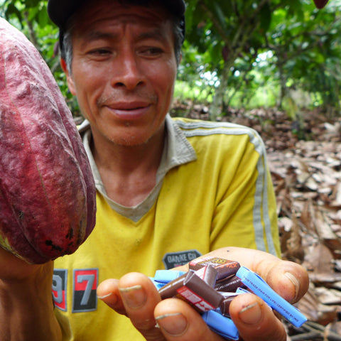 Peruvian cacao farmer holding a cacao pod and Equal Exchange minis in the other hand