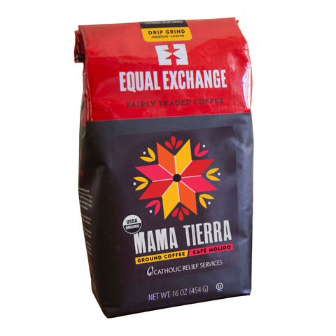 1lb red and black bag of Mama Tierra ground coffee