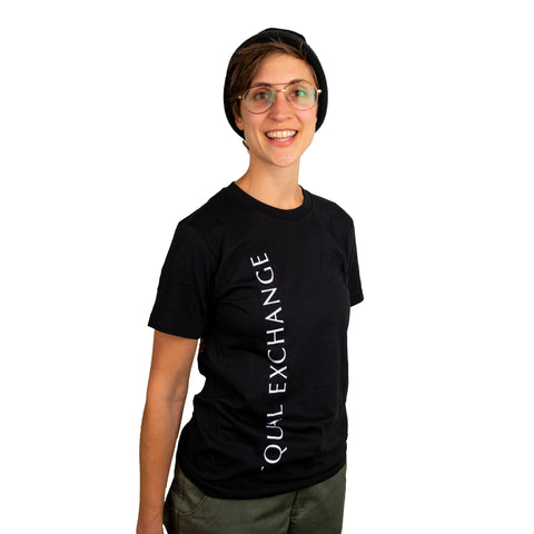 Woman wearing a black Equal Exchange t-shirt