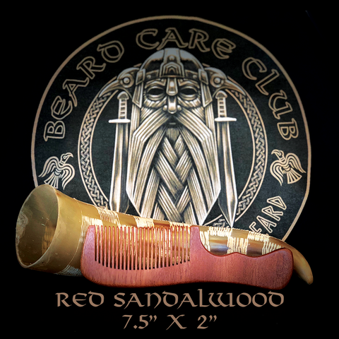 "Red Sandalwood Beard Comb 7.5"" x 2"""
