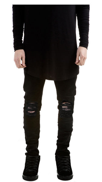 Skinny Ripped Stretch Jeans - Black / 28 - men - HQBP