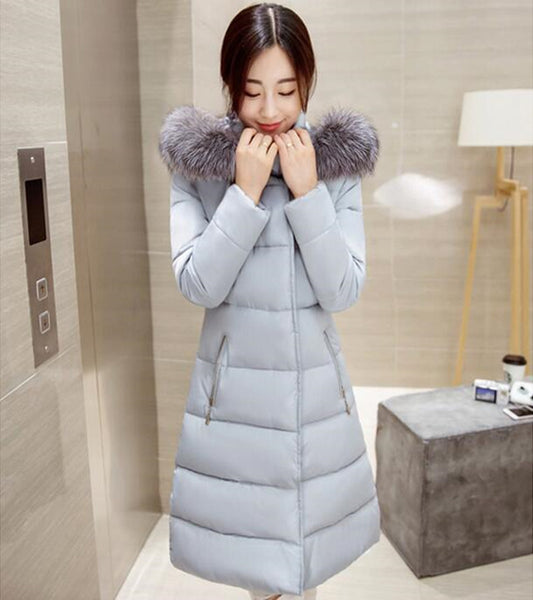 Winter Fur Collar Coat - grey / S - women - HQBP