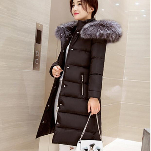 Winter Fur Collar Coat - black / S - women - HQBP