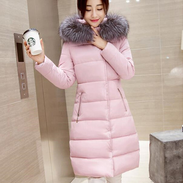 Winter Fur Collar Coat - pink / S - women - HQBP