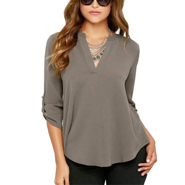Long Sleeve Solid Top Plus Size - Gray / S - women - HQBP