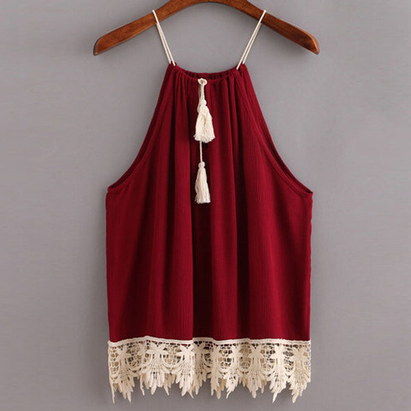 Boho Style Trimmed Lace Tank Top - - women - HQBP