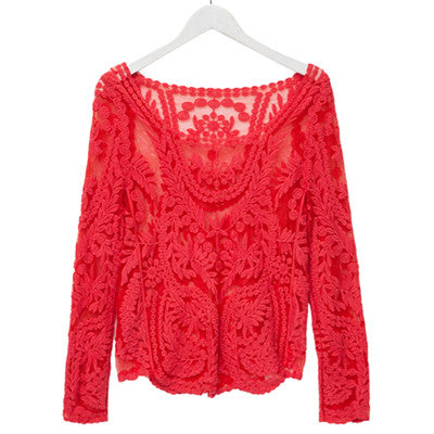 Sexy Lace Blouse - Red / M - women - HQBP