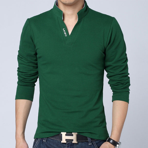 Solid Color Long Sleeve Slim Fit T-Shirt - Green / Asian Size M - men - HQBP