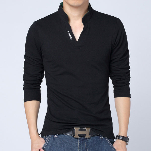 Solid Color Long Sleeve Slim Fit T-Shirt - Black / Asian Size M - men - HQBP