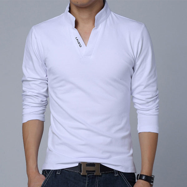 Solid Color Long Sleeve Slim Fit T-Shirt - White / Asian Size M - men - HQBP
