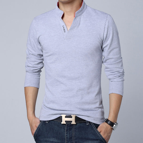 Solid Color Long Sleeve Slim Fit T-Shirt - Gray / Asian Size M - men - HQBP