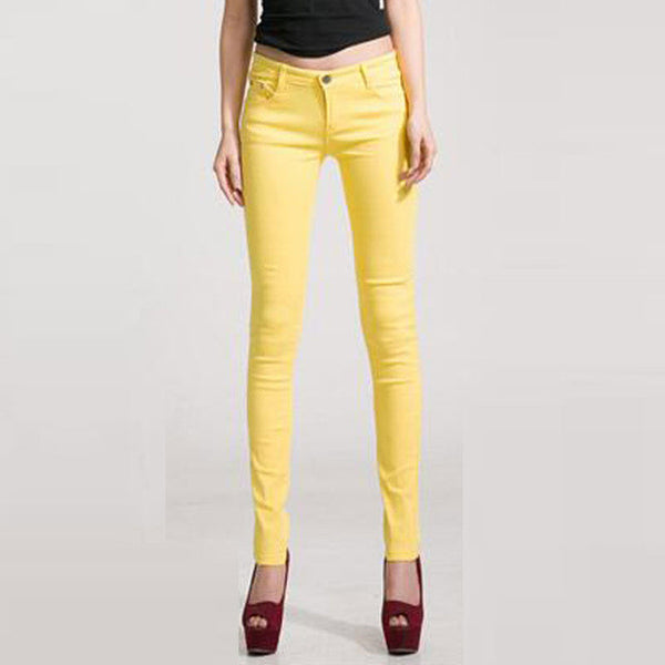 Candy Color Mid Waist Skinny Denim