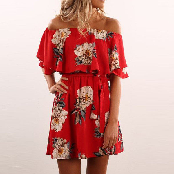 Red Floral Ruffles Dress