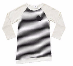 Hootkid Risk Taker Dress (Light Grey Marle/Black Stripe)