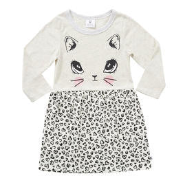 Hootkid Kitty D Dress (Light Grey Marle/Leopard)