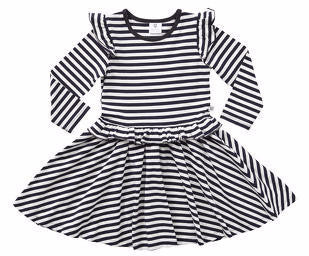 Hootkid Start Running Dress (Black/White Stripe)