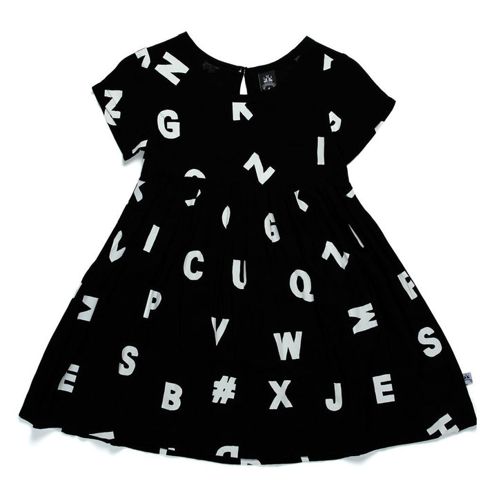 Littlehorn Alphabet Empire Dress (Black)