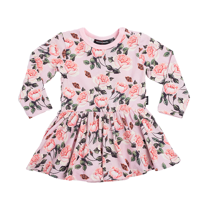 Rock Your Baby Shabby Chic LS Waisted Dress