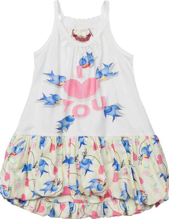 Little Wings Bubble Dress - Bluebirds