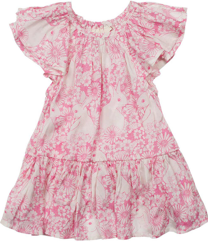 Little Wings Frilled Smock Dress - Bunny Field Outline