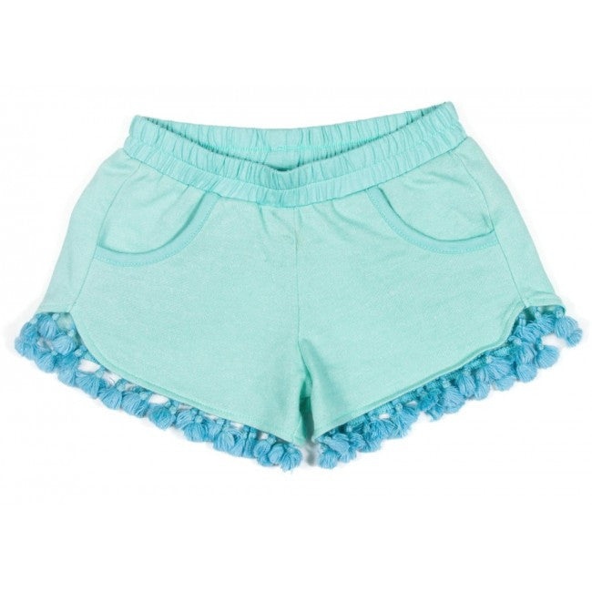 Light Fleece Tassle Shorts - Mint