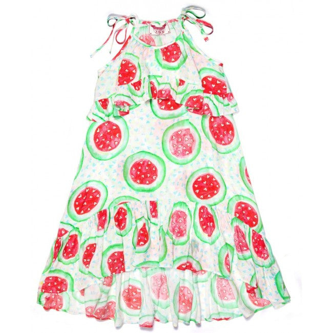 Double Frill Maxi Dress - Watermelon Hearts