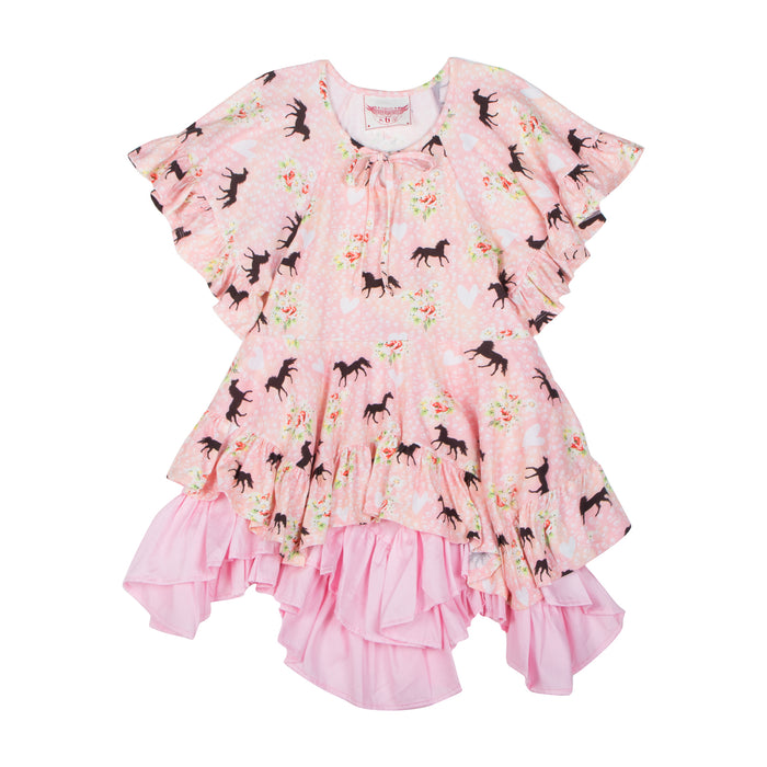 Paper Wings Flared Sleeve Frilled Dress - Spring Horse