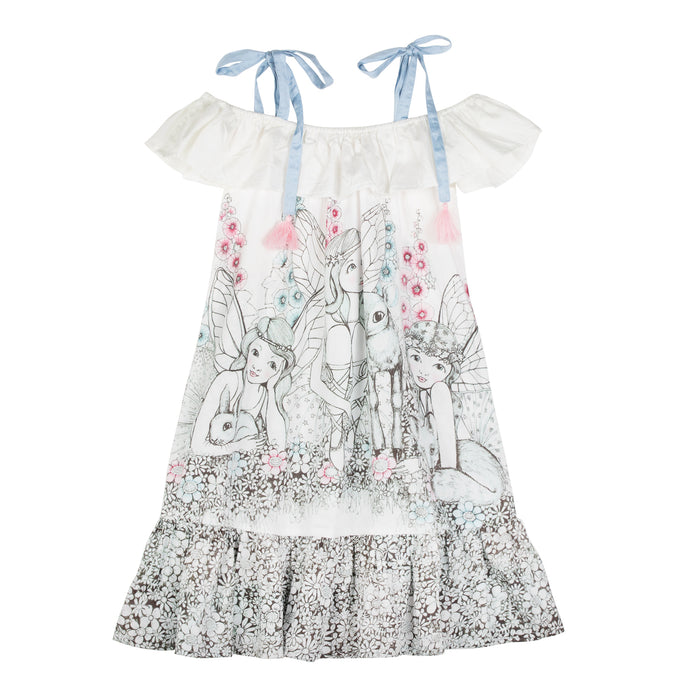 Paper Wings Frilled Off Shoulder Dress - Garden Fairies