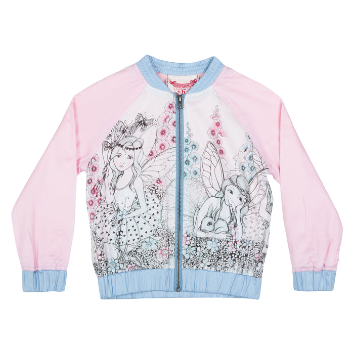 Paper Wings Light Weight Bomber Jacket - Garden Fairies