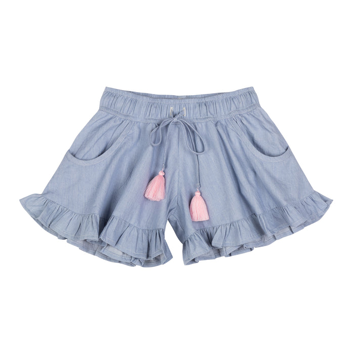 Paper Wings Frilled Shorts (Light Blue)