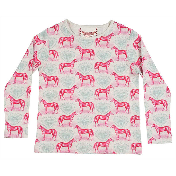 Long Sleeve Tee - Hearts and Horses (Light Grey Marle/Pink/Blue)