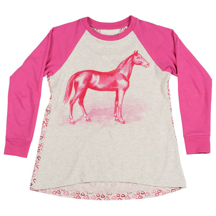 Raglan Tee - Pink Horse (Light Grey Marle/Pink)