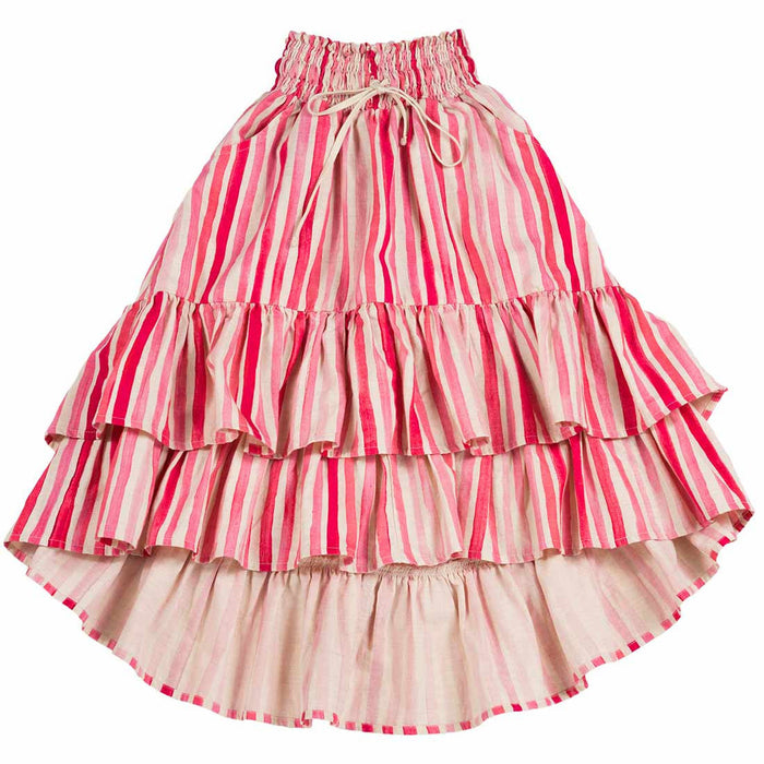 Frilled Hi Lo Skirt - Pink Stripes (Natural/Pink)